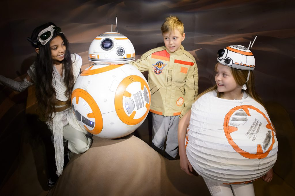 Monday March 21, 2016. The Star Wars at Madame Tussauds London experience welcomed a new character to its epic ranks today when BB-8, set in a Jakku desert scene, was unveiled to fans at a preview. The new attraction opens on Friday March 25.